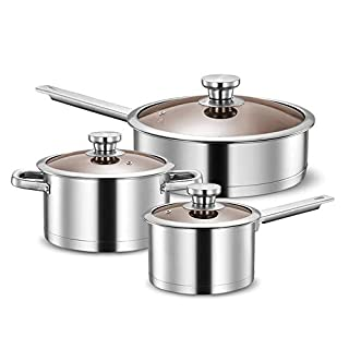 Classic Cookware Set Stainless Steel Cookware Set Kitchen Cookware Pots And Pans Set Perfect Cooking Utensils 3 Pieces Kitchen Professional (Color : Silver, Size : As picture)