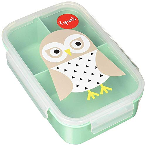 (3 Sprouts Lunch Bento Box Leakproof 3 Compartment Lunchbox Container for Kids, Mint, Owl)