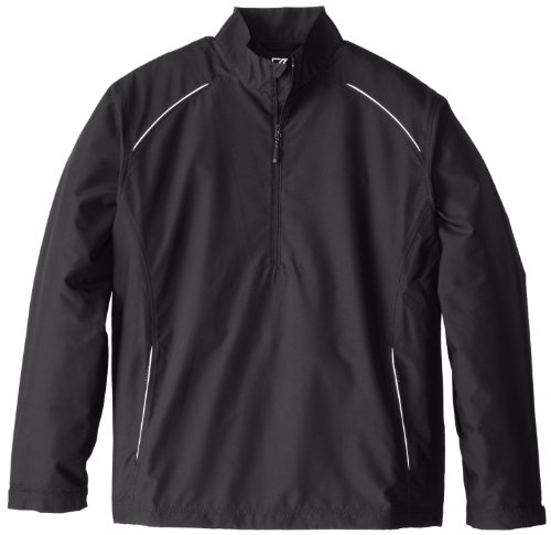 Cutter & Buck Men's Big-Tall Cb Weathertec Beacon Half Zip Jacket, Black, 3XB (Cutter Tall)