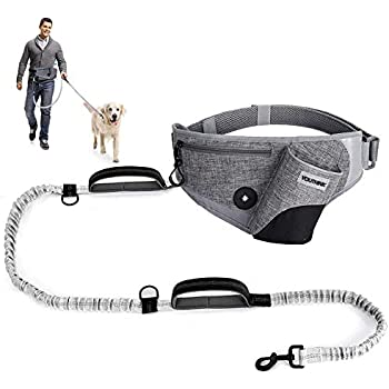 TUDEQU 4-IN-1 Hands Free Dog Zero Shock Absorbing Bungee Leash with a Multifunctional Waist Bag 5.8FT//178cm Leash with Car Seat Belt Buckle and Reflective Threading