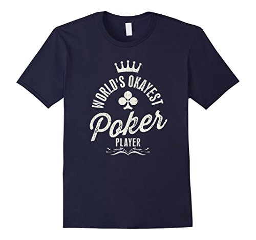 Men's World's Okayest Poker Player Vintage T-shirt Large Navy