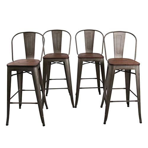 "HAOBO Home 30"" High Back Barstools Metal Stool with Wooden Seat [Set of 4] for Indoor/Outdoor Bar Stools, Bronze"