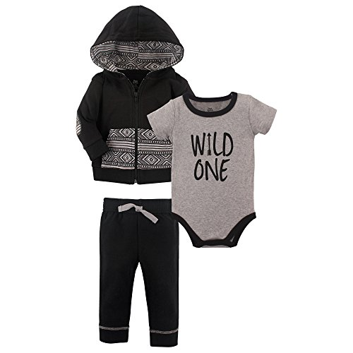 Yoga Sprout Baby Infant 3 Piece Jacket, Top and Pant Set, Wild One, 12-18 Months