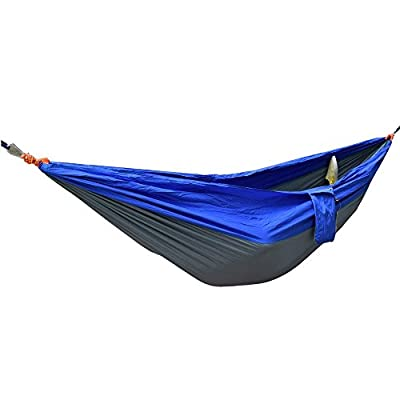 Yosoo Generic Ultra Light Portable Nylon Fabric Light Double Portable Parachute Hammocks Travel Camping Hammock Hanging Bed for Outdoor Camping Travel Hiking Swing(blue & Gray)