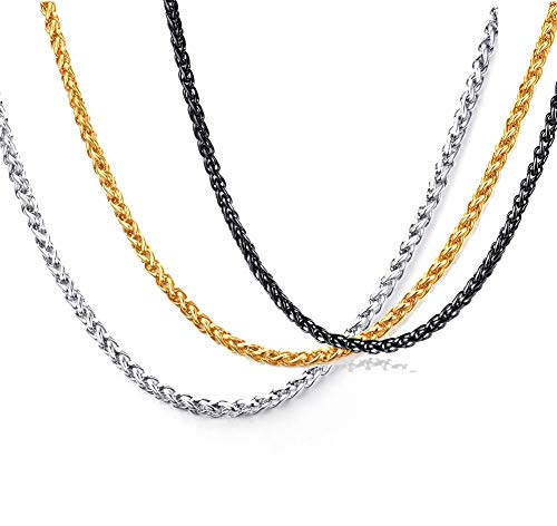 VNOX 3 Pcs Stainless Steel Wheat Chain Necklace for Men Women Pendant Accessory Chain 3 mm,24