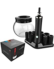 Makeup Brush Cleaner - Deep Clean and Dry Makeup Brushes 360 Degree Rotation with 8 Rubber Collars, In Seconds (Black-White) (Black)