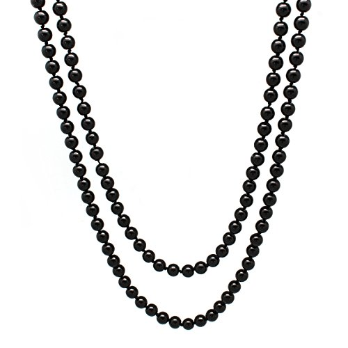 Hobe Strand Necklace - MeliMe Women's White Gray Simulated Pearl (8mm) Strands Necklace Long Pearls Bead Necklaces, 60 Inches (Black)