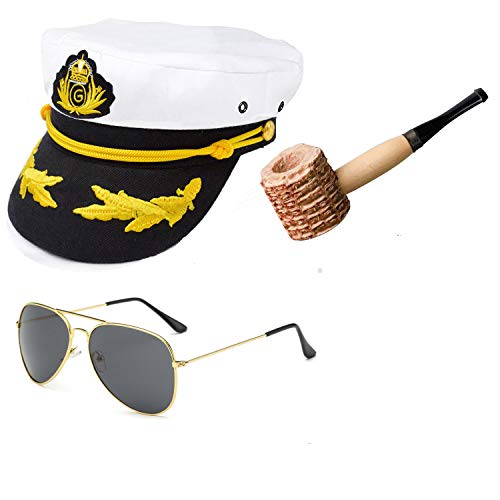 Yacht Captain & Sailor Costume Accessories Set - Hat,Corn Cob Pipe,Aviator Sunglasses,Vintage Anchor Temporary Tattoo (OneSize, C2)