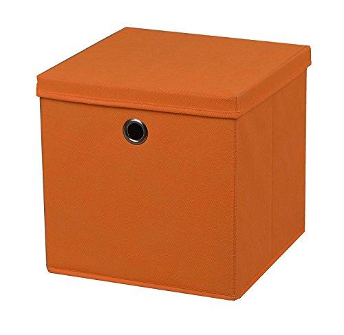 3 Stück Faltbox Orange 28 x 28 x 28 cm Aufbewahrungsbox faltbar mit Deckel