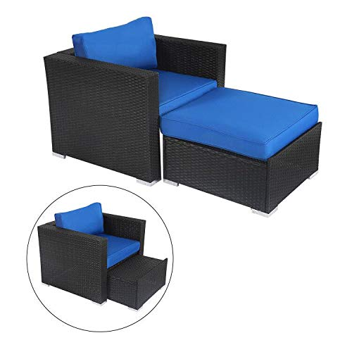 Kinsunny Wicker Furniture Set PE Wicker Rattan Outdoor All Weather Cushioned Sofas and Ottoman Set Lawn Pool Balcony Conversation Set Chat Set (Outside Lounge)