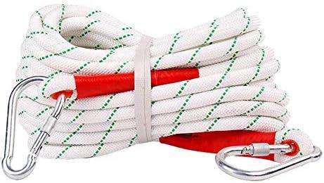 クライミングロープ、118mm 屋外クライミングサバイバルエスケープロープ高強度コード安全ロープ縫い付けバックルとカラビナ,White,100m