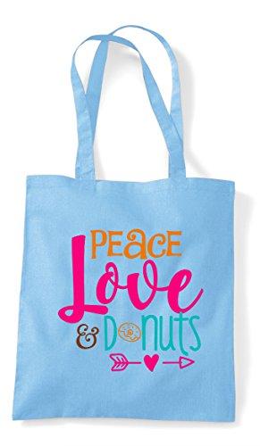 Bag Blue Tote Donuts Sky And Shopper Statement Love Peace Uv8q1xXz1