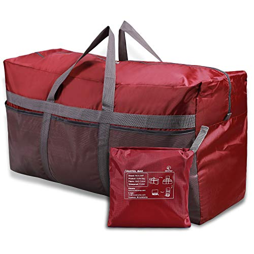 REDCAMP 96L Extra Large Duffle Bag Lightweight, Water Resistant Travel Duffle Bag Foldable for Men Women, Wine Red