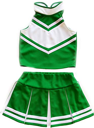 Little Girls' Cheerleader Cheerleading Outfit Uniform Costume Cosplay Green/White (M / 5-8)