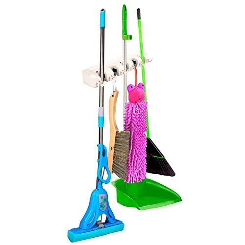 Mop Holder Hanger 5 Position 6 Hook Home Kitchen Storage Broom Organizer Wall Mounted