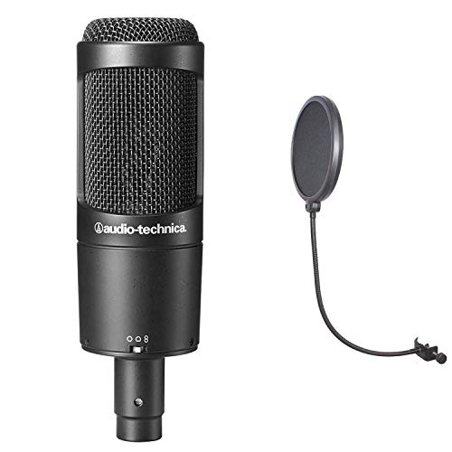 (Audio Technica AT2050 Multi Pattern Large Diaphragm Condenser Mic Bundle with CAD Audio Voxpop Pop Filter)