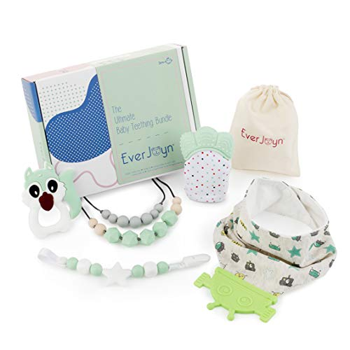 EverJoyn Baby Teething Bundle (Green) | Mitten, Bandana Drool Bib, Necklace for Mom, Pacifier Clip, Teether Toy, Hygienic Travel Bag | for Boys and Girls | Infant and Newborn Babies -