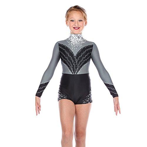 Alexandra Collection Youth Extravagance Performance Dance Costume Biketard Black (Aerial Dance Costumes)