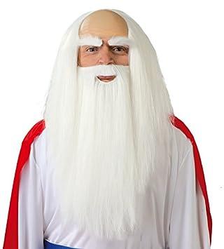 Juguetes Fantasia - Peluca blanca druida con barba