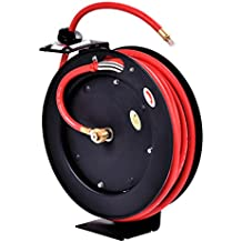 "Goplus Auto Rewind Retractable Air Hose Reel, Hose Compressor with 3/8"" x 25' Hose, Max.300 PSI"