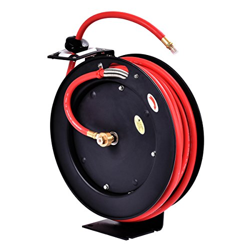Goplus Retractable Air Hose Reel, Wall Mount Auto Rewind Hose-Reel, Heavy Duty Steel Construction, Industrial Grade, Max.300 PSI (3/8' x 25' Hose, Black)