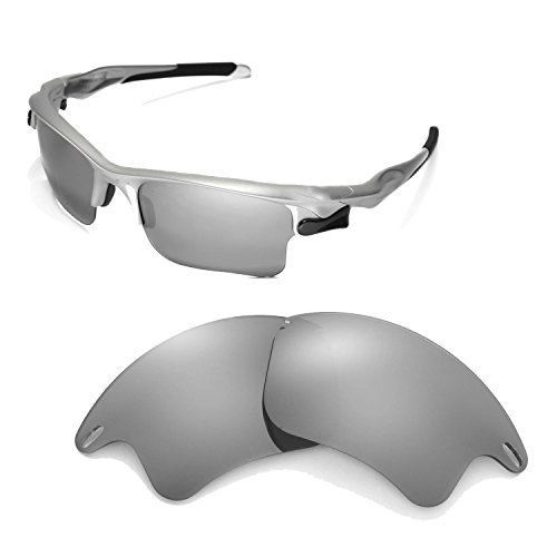 Walleva Replacement Lenses for Oakley Fast Jacket XL Sunglasses -Multiple Options Available (Titanium Mirror Coated - - Jacket Ti