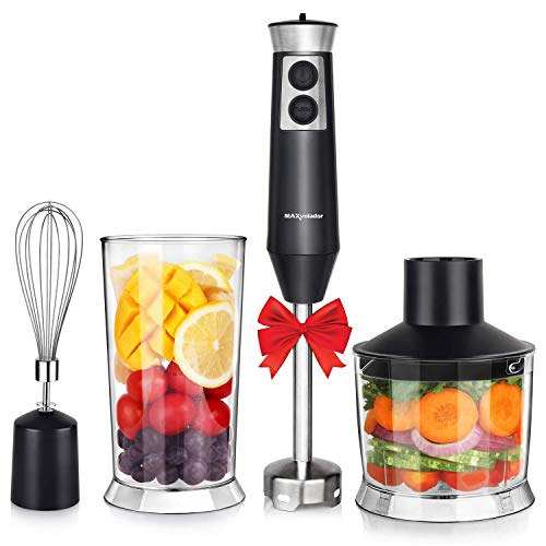 (Powerful 4-in-1 Immersion Hand Blender Set, 500W Multi-Speed Heavy Duty Pure Copper Motor, Stainless Steel Finish, Includes Food Chopper, Whisk Attachment, BPA-Free, cETLus Listed, FDA (Black))