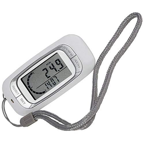 Trihedral 3D Sensor Running Walking Pedometer Step Counter Calorie Burned Calculator (Color : White, Size : OneSize) (Best Calories Burned Calculator)