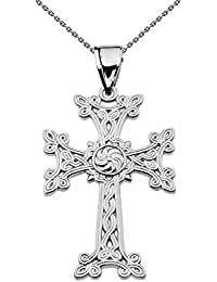 "Sterling Silver Eternity ""Khachkar"" Armenian Cross Pendant Necklace (Small)"