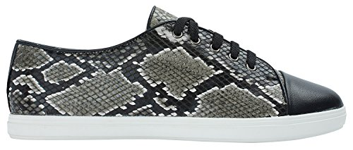 Womens Python Embossed Low Top Casual Sneaker Blackpython Lv5E6