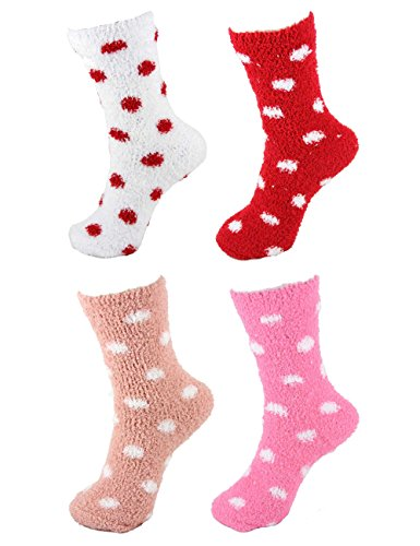 Fuzzy Socks Dot (Super Soft Warm Microfiber Fuzzy Polka Dots Socks - Assortment O - 4 Pairs)