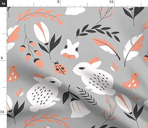 - Cute Bunnies Fabric - Bunnies Rabbits Animals Ladybugs Gray Bunny Rabbit Ladybug Gray Nature Woodland Spring by Bluelela Printed on Fleece Fabric by The Yard