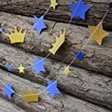 Prince Gold Crown Blue Star Garland, Prince Baby Shower...