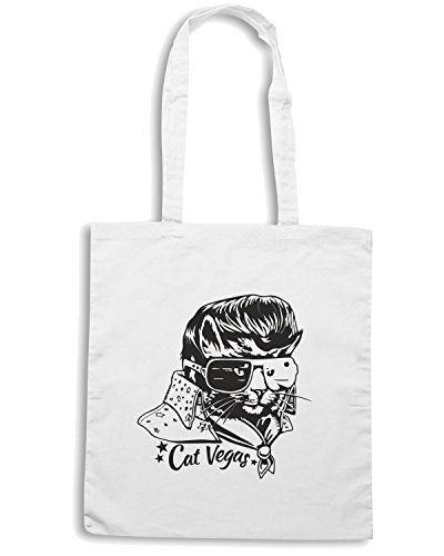 T-Shirtshock - Borsa Shopping FUN0203 08 09 2013 Cat Vegas T SHIRT det Bianco
