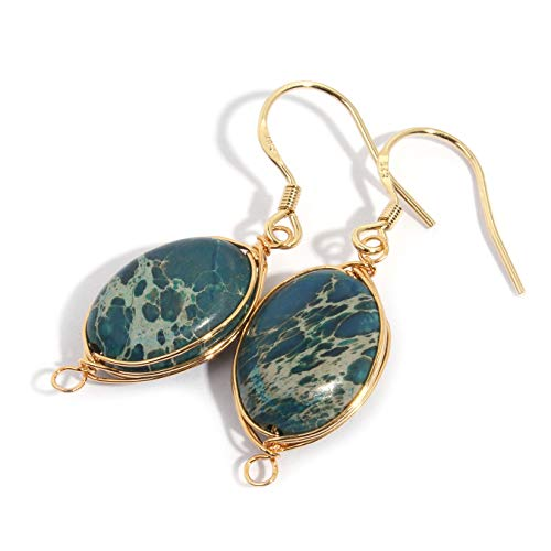 Scutum Craft Natural Stone Wire Wrap Dangle Drop Earrings Gold Plated 925 Sterling Silver Hook Jewelry for Women (Impression Jasper Green)