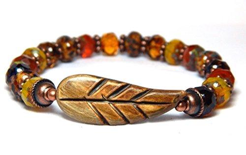 Boho Chic Orange Yellow Autumn Fall Leaf Charm Nature Gemstone Beaded Bracelet