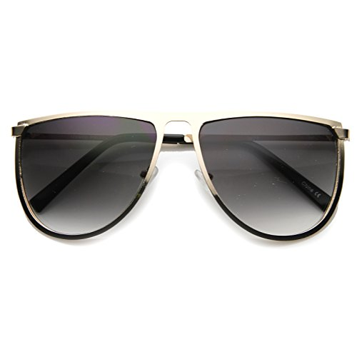 zeroUV - Ultra Thin Modern Fashion Oversized Full Metal Flat Top Aviator Sunglasses 56mm