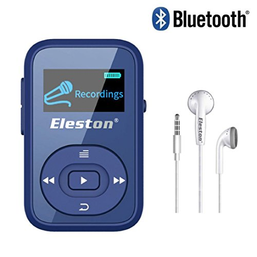 Mini Clip Bluetooth MP3 player Recorder FM Radio for Running Sport with 1.1inch Sreen Support up to 64GB TF Card (Blue)