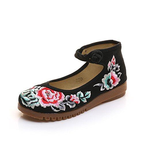 aumento femenina étnico WXT casual zapatos lenguado de moda bordados estilo tela del dentro Zapatos Black cómodo tendón del UfBYavU