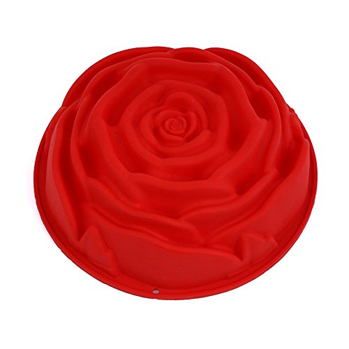 SPHTOEO Big Rose Flower Birthday Cake Bread Tart Flan Silicone Baking Mould Tin Bakeware