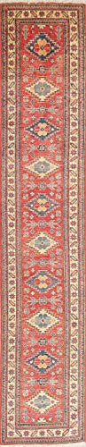 New One-of-a-Kind Pakistani Kazak Oriental Hand-Knotted Wool Runner Rug 11 ft Red (11' 1