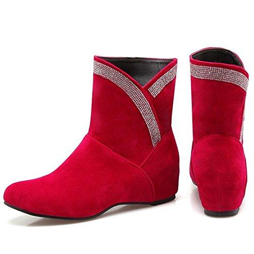 COOLCEPT Mujer Comodo Sin Cordones Tobillo Otono Botas Aumentar 234 Red