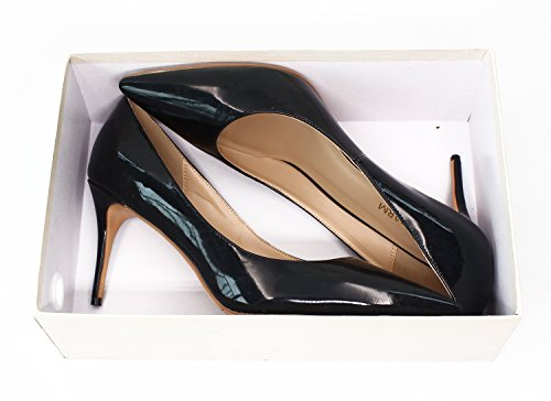 fast charm Womens Pointed Toe Large Size Shallow Stiletto High Heel Shoes Pumps Black b4uv2oH