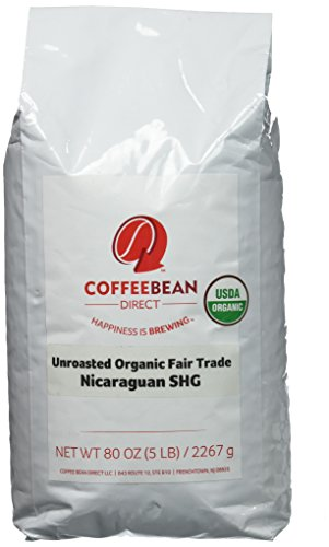Green Unroasted Organic Fair Trade Nicaraguan Shg, Whole Bean Coffee, 5-Pound Bag