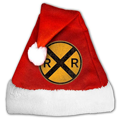 WAN1W0 Vintage Style Railroad Crossing Round Metal Sign Christmas Hat, Red&White Xmas Santa Claus' Cap for Holiday Party Hat -