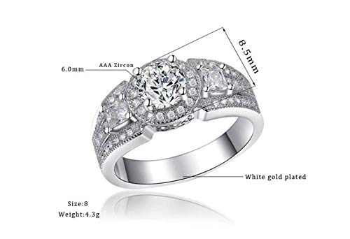 Chuan Han Jewelry Fashion Trend Wedding Ring AAA Zircon Hearts and Arrows Platinum Ring, Female, Classic, Party Prong Set, Geometry, Attend Cocktail Ring, R174, Global, White & Platinum, US 9