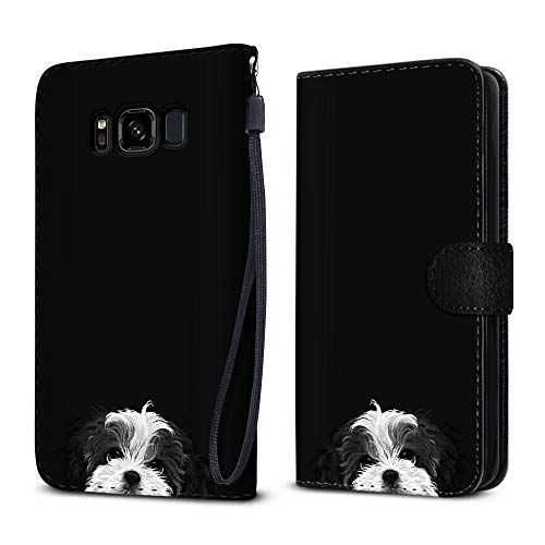 FINCIBO Case Compatible with Samsung Galaxy S8 Active G892A 5.8 inch, Protective Flip Canvas Wallet Pouch Case Card Holder TPU Cover for Galaxy S8 Active (NOT FIT S8/ S8 Plus) - Black White Shih Tzu ()