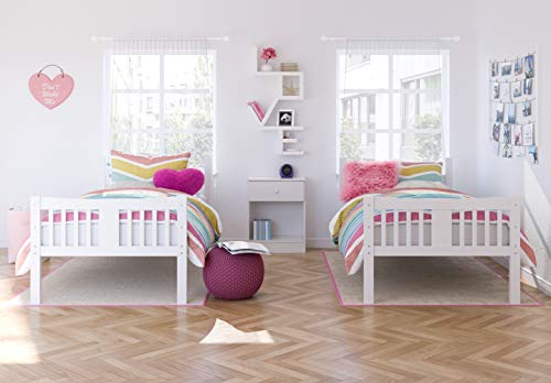 Bedroom Storkcraft Caribou Solid Hardwood Twin Bunk Bed with Ladder and Safety Rail, White bunk beds
