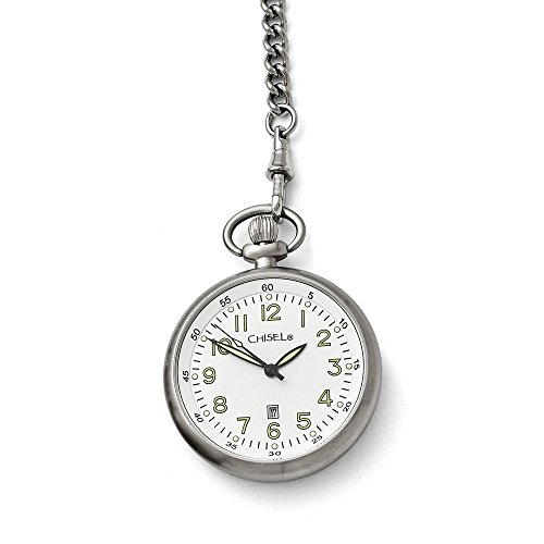 Mia Diamonds Chisel Stainless Steel White Dial Pocket Watch