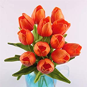 Beyonds Artificial Flowers,12 Pcs Fake Tulip Flowers Bouquet Silk Tulip Real Touch Bridal Wedding Bouquet for Home Garden Party Decor Gift for Mother's Day Wedding Party (Orange) 83